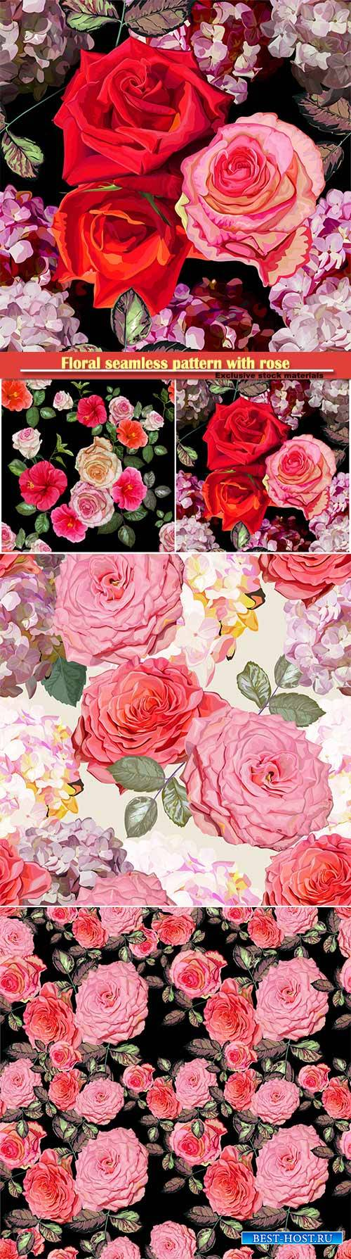 Floral seamless pattern with rose and hydrangea vector illustration