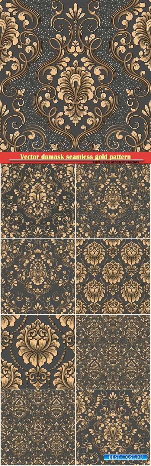 Vector damask seamless gold pattern