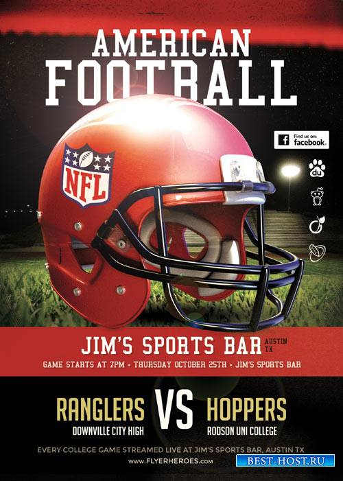 American Football psd flyer template