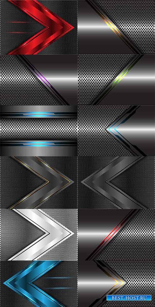 Тёмные фоны со стрелками - Векторный клипарт / Dark backgrounds with arrows ...