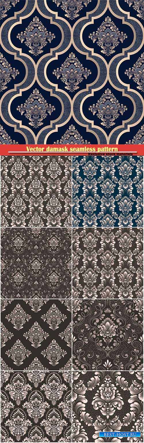 Vector damask seamless pattern element, royal victorian seamless texture