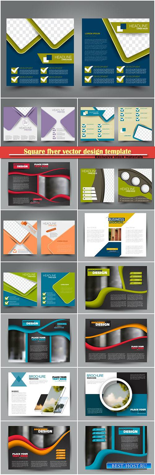 Square flyer vector design template, cover for brochure