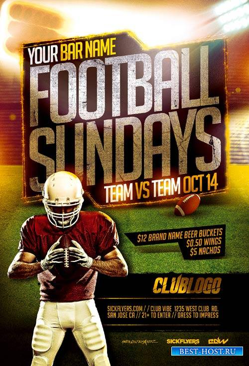 Football Sundays psd flyer template