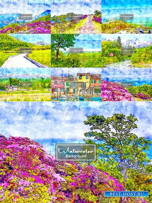Пейзажи акварелью в векторе / Watercolor landscapes in vector