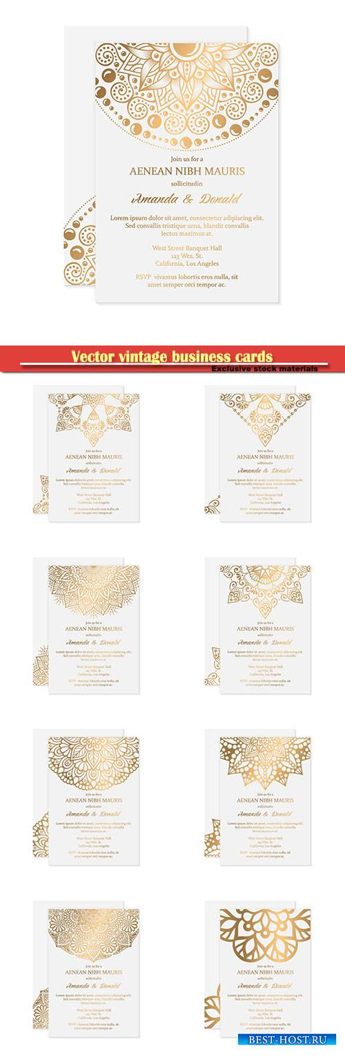 Vector vintage wedding cards with decorative elements with mandala