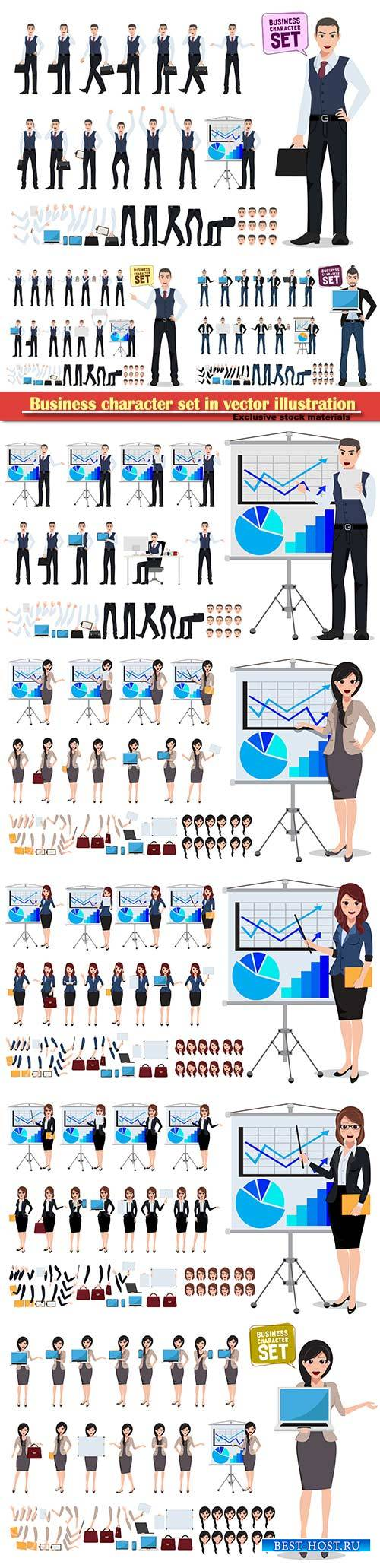 Business character set in vector illustration