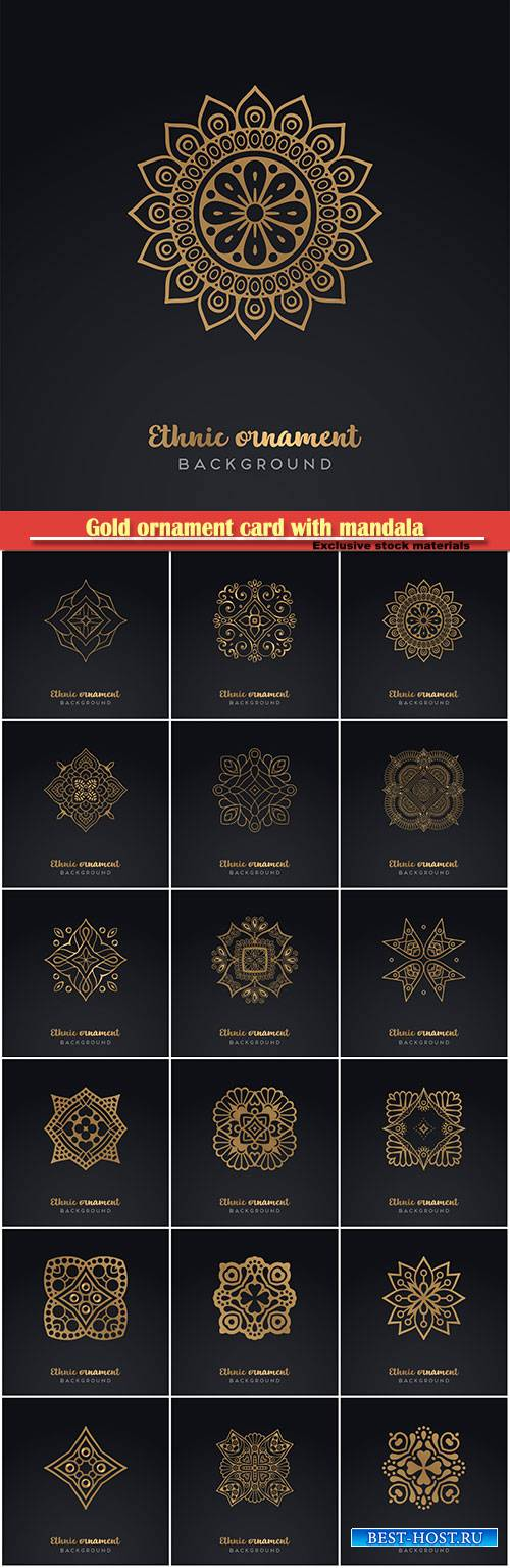 Gold ornament card with mandala in vector illustration