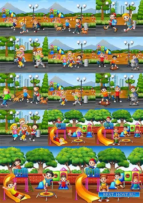 Дети в городе - Векторный клипарт / Children in the city - Vector Graphics