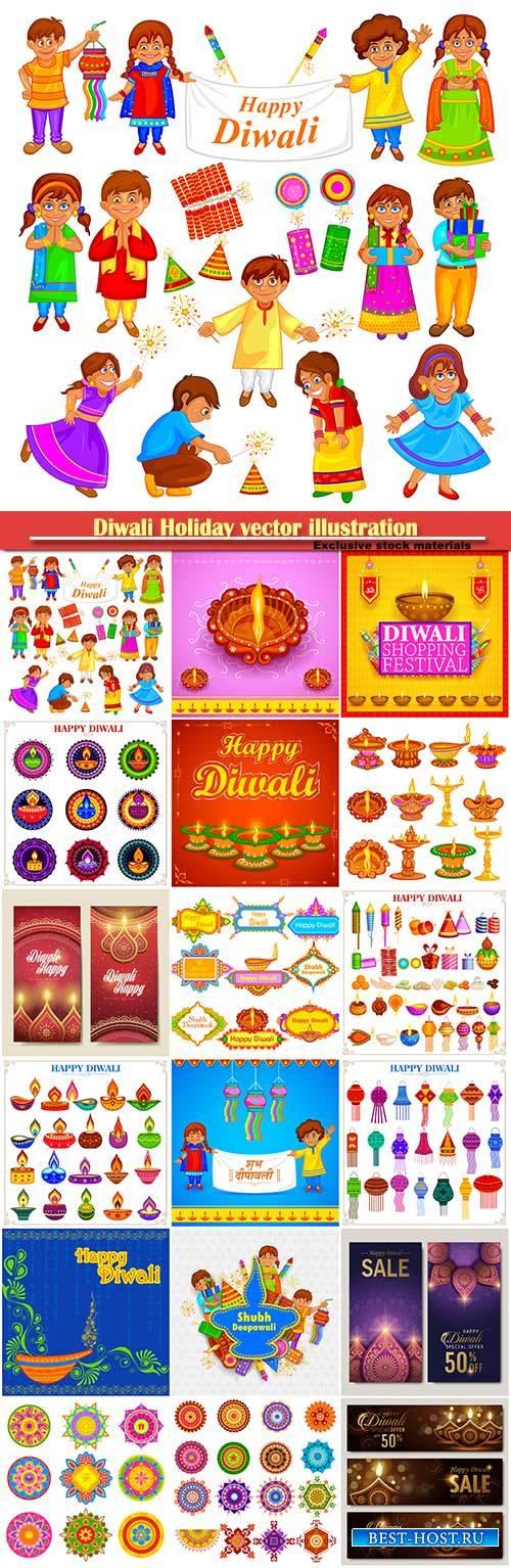 Diwali Holiday vector illustration with burning diya # 3