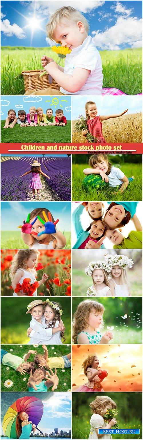 Children and nature stock photo set