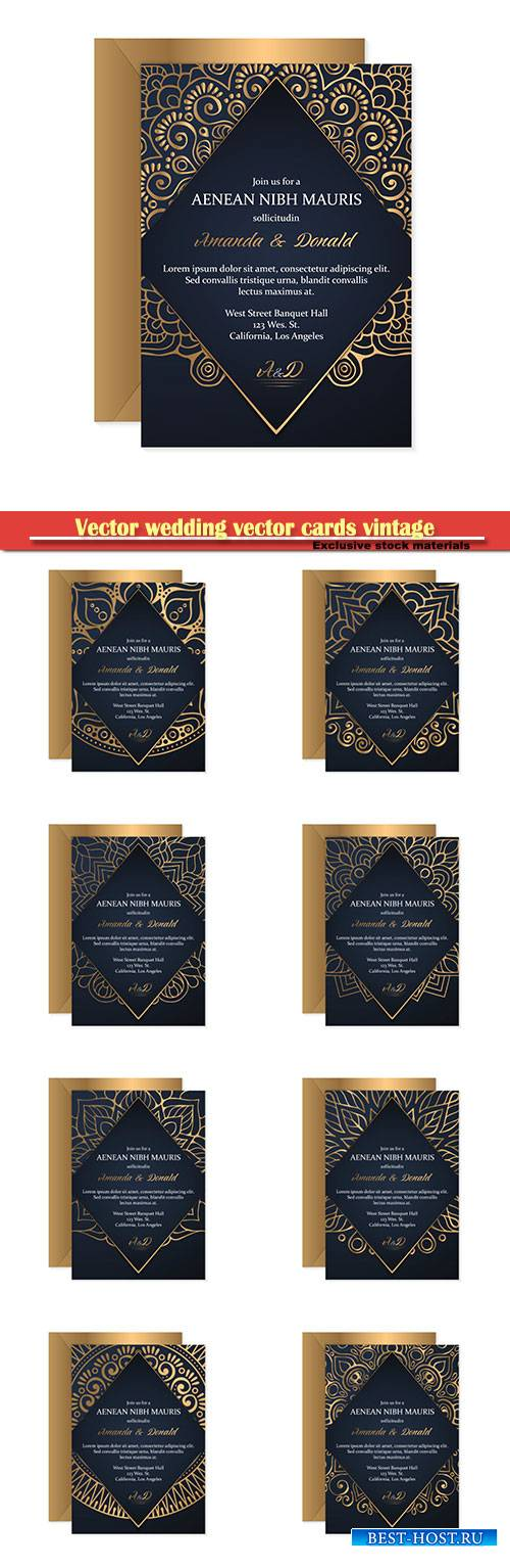 Vector wedding vector cards vintage decorative elements with mandala