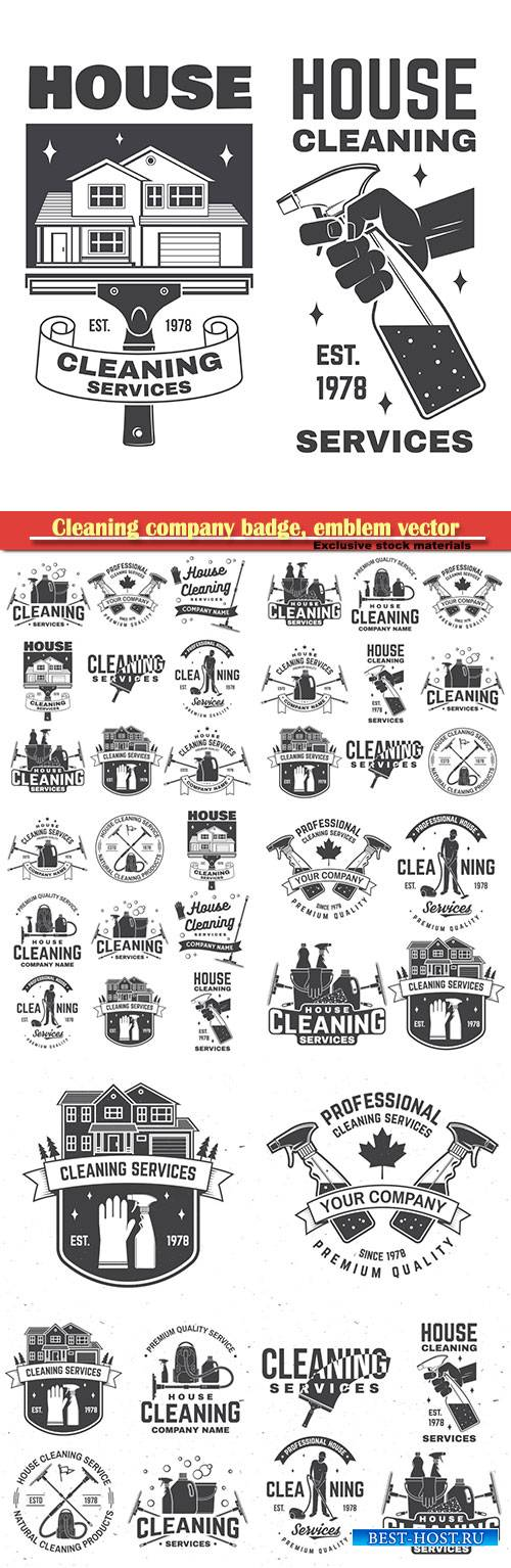 Cleaning company badge, emblem vector illustration