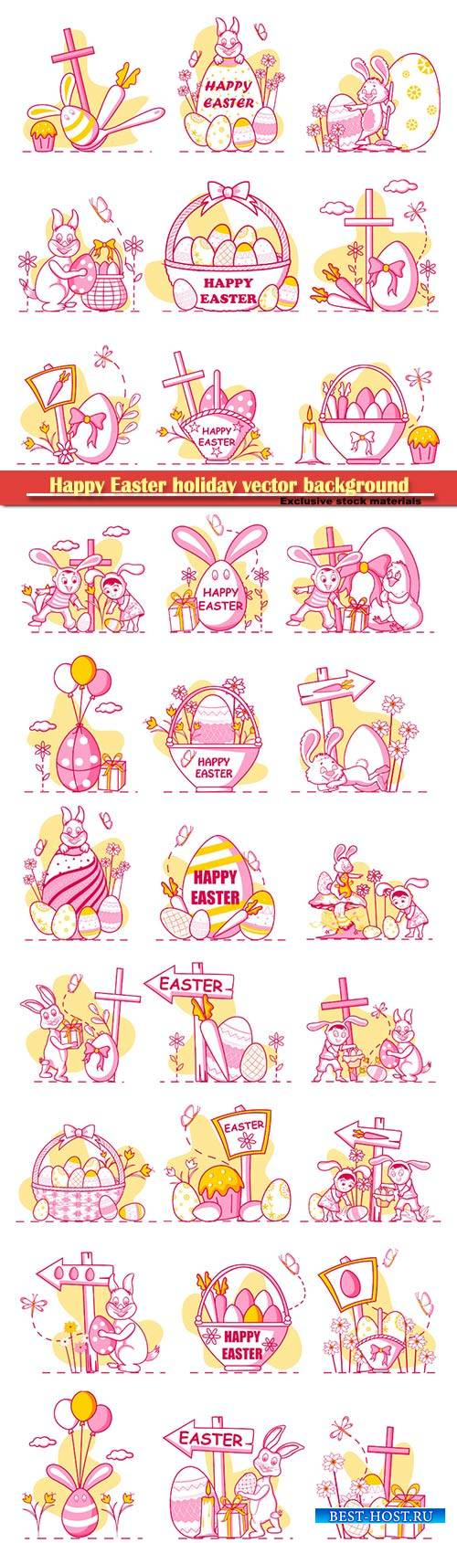 Happy Easter holiday celebration background in vector