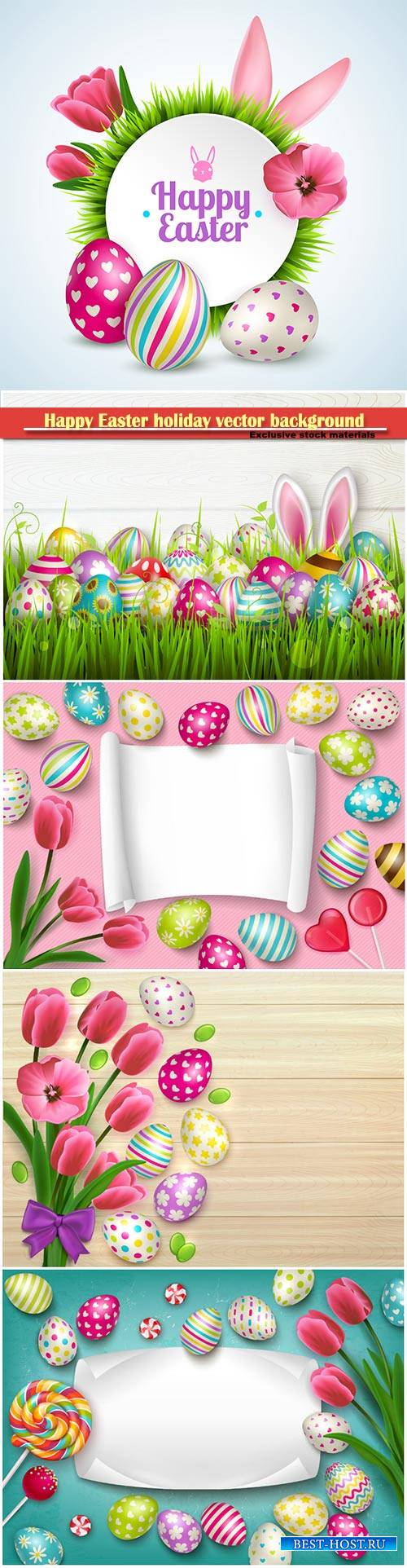 Happy easter composition with eggs rabbit ears and spring flowers vector il ...