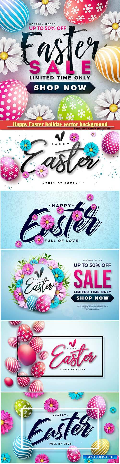 Easter sale vector illustration with eggs and spring flower