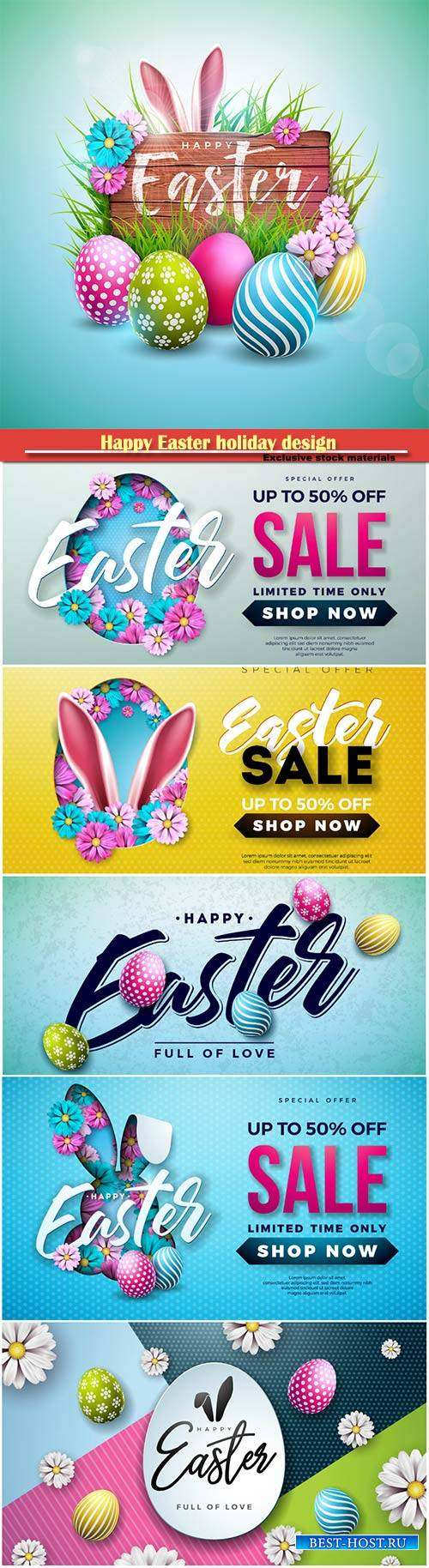Happy Easter holiday design with painted egg vector illustration