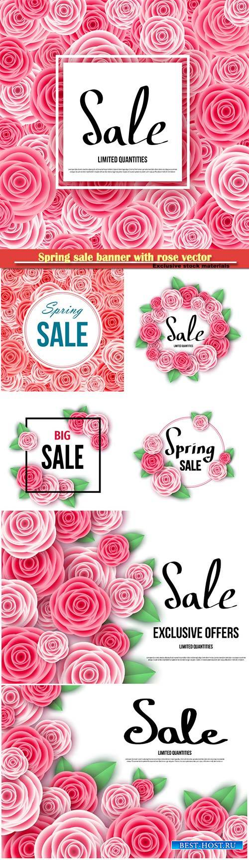 Spring sale banner with rose vector illustration