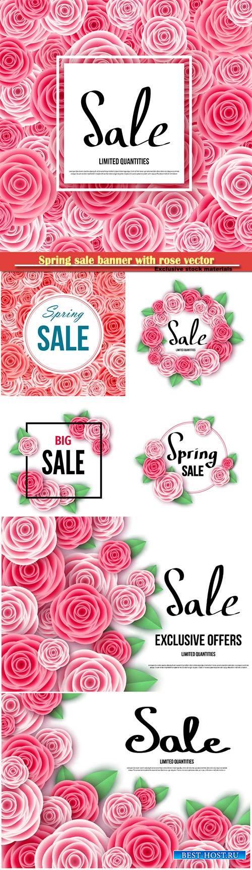 Spring sale banner with rose vector illustration