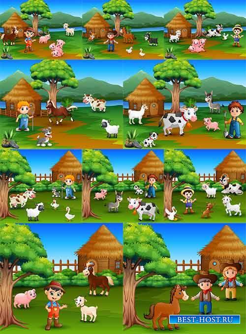 Маленькая ферма - Векторный клипарт / Little farm - Vector Graphics