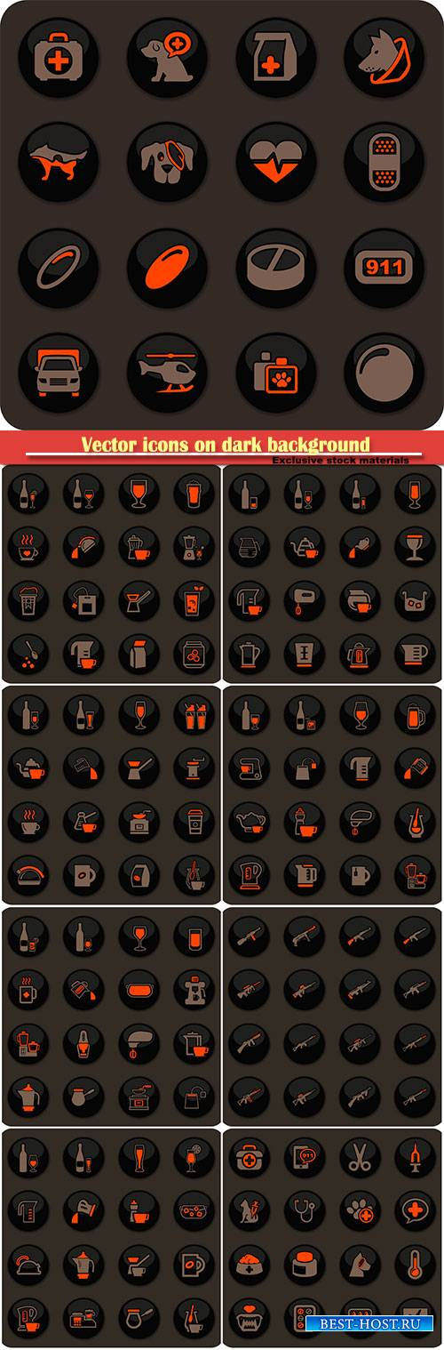 Vector icons on dark background for user interface design