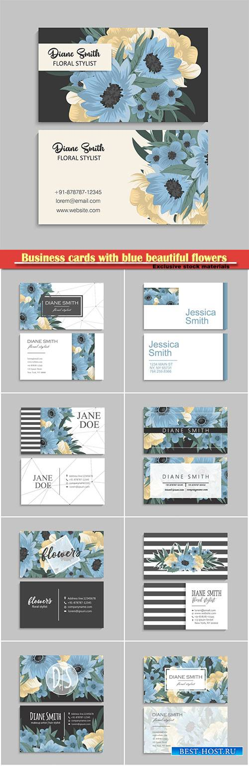 Business cards with blue beautiful flowers