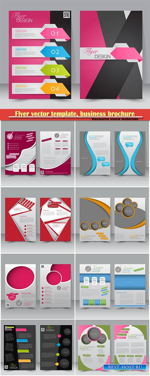 Flyer vector template, business brochure, magazine cover # 3
