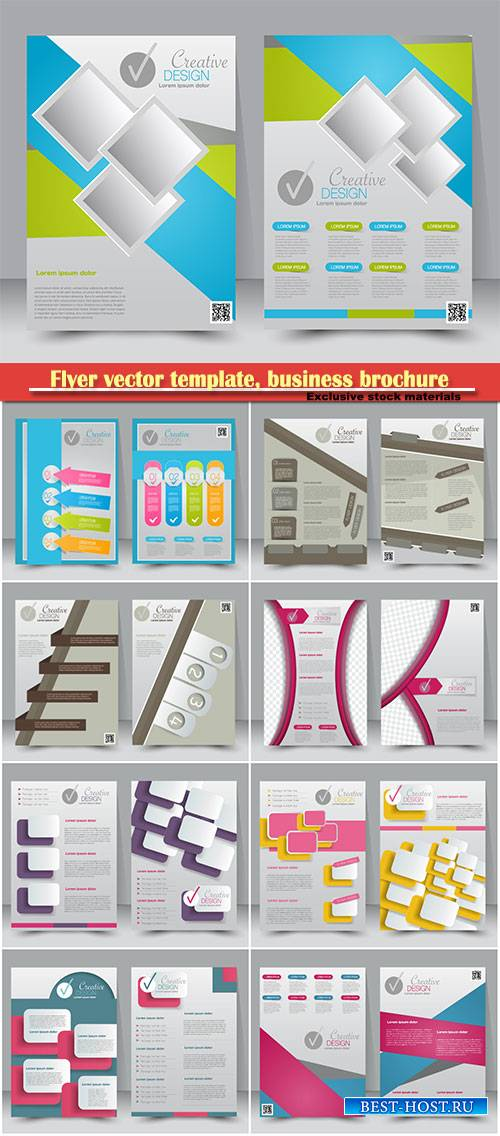Flyer vector template, business brochure, magazine cover