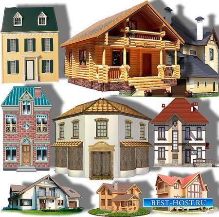 Клипарты на прозрачном фоне - Загородные дома