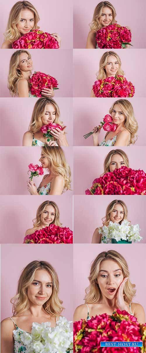 Девушка с цветами - Растровый клипарт / Girl with flowers - Raster clipart