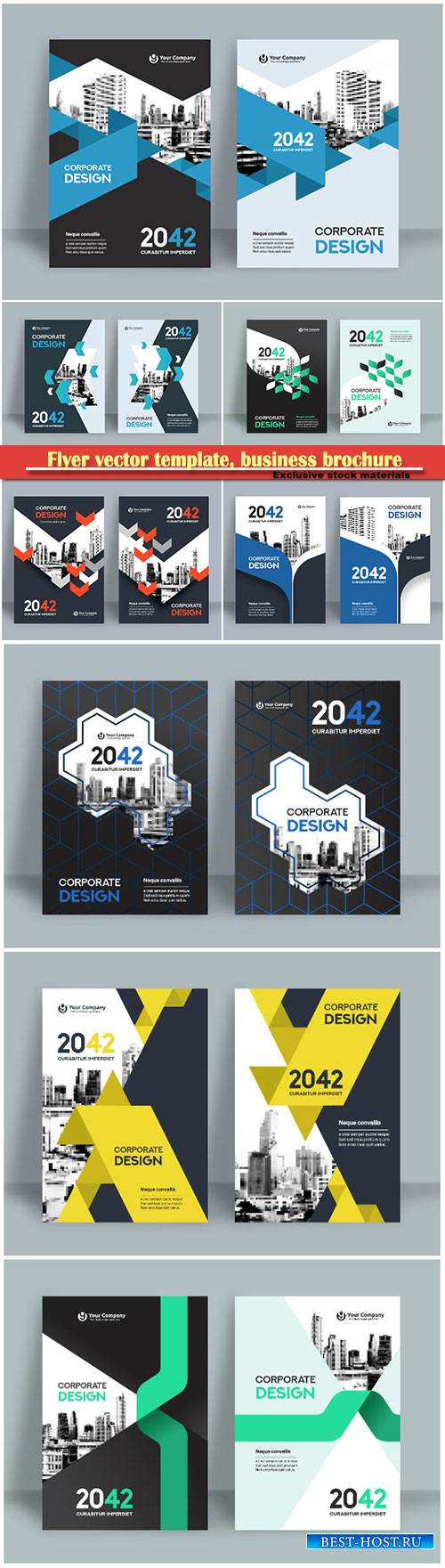 Flyer vector template, business brochure, magazine cover # 10