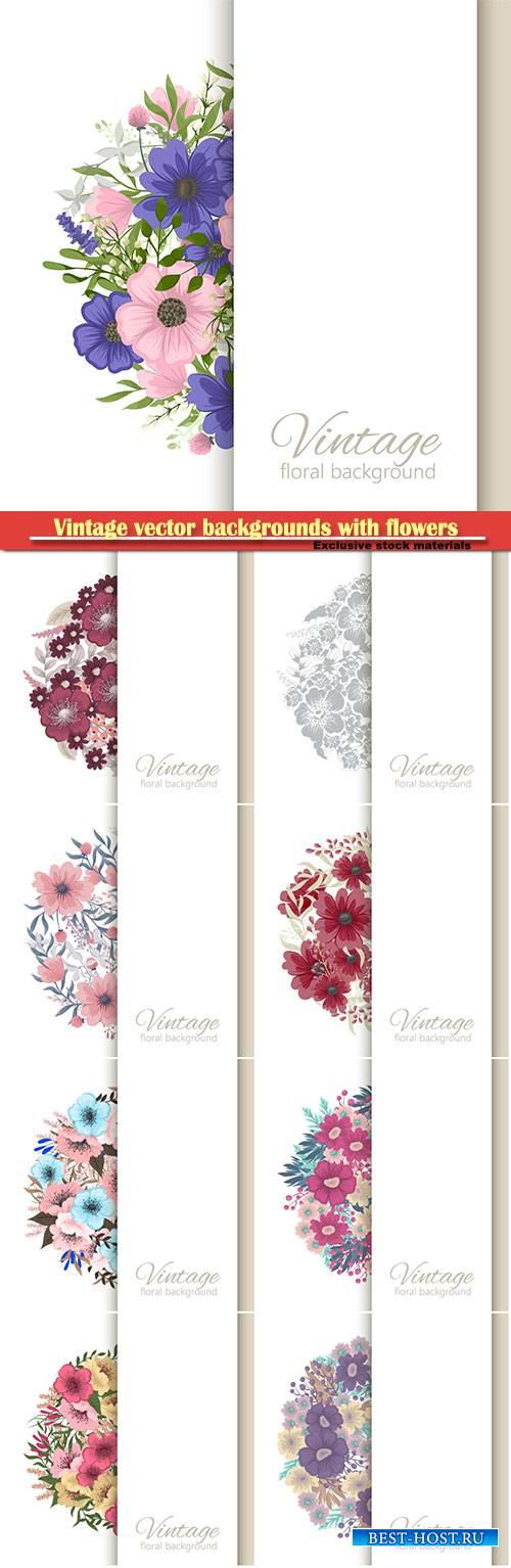 Vintage vector backgrounds with beautiful flowers