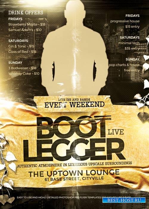 Boot legger psd flyer template