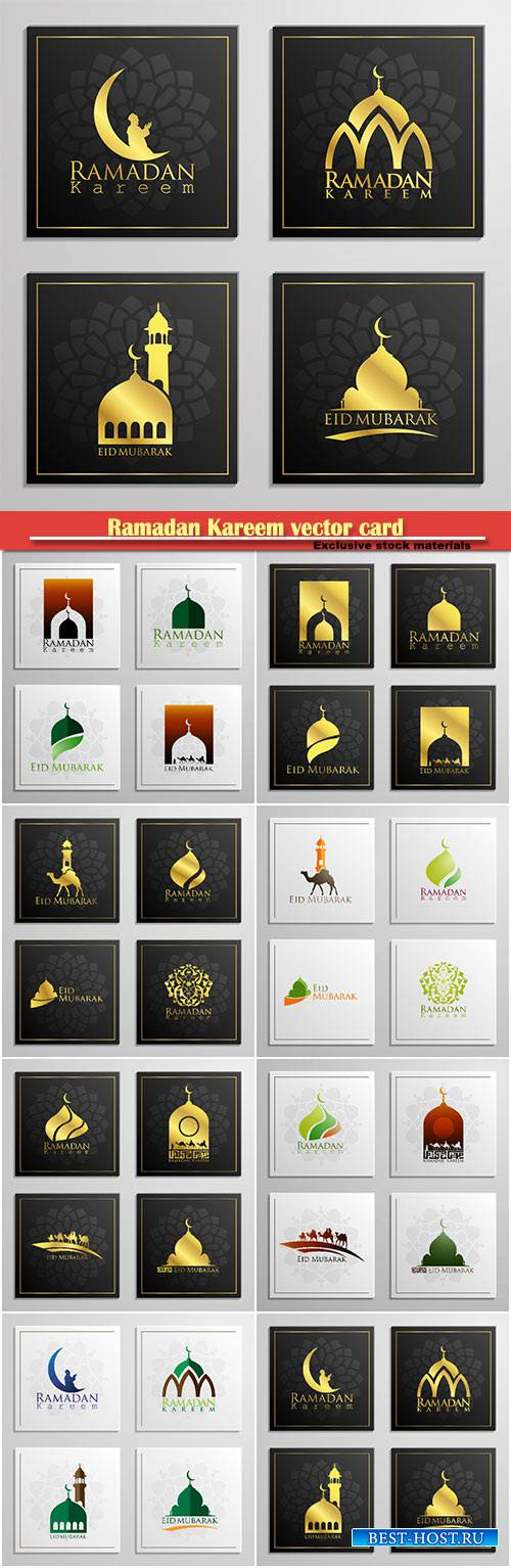 Ramadan Kareem vector card, islamic background