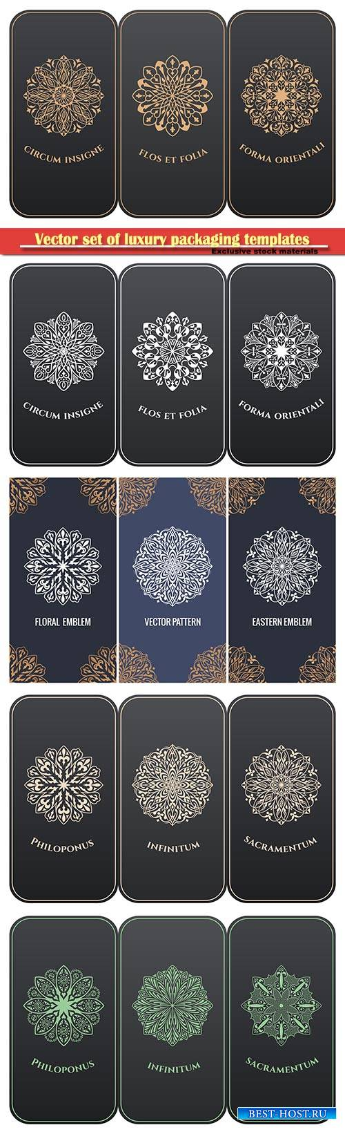 Vector set of luxury packaging templates in modern floral style
