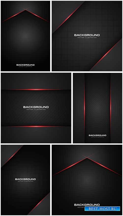 Чёрный фон с красными линиями - Векторный клипарт / Black background with r ...