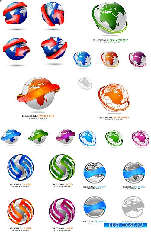 3D globe and world map set - Vector Graphics