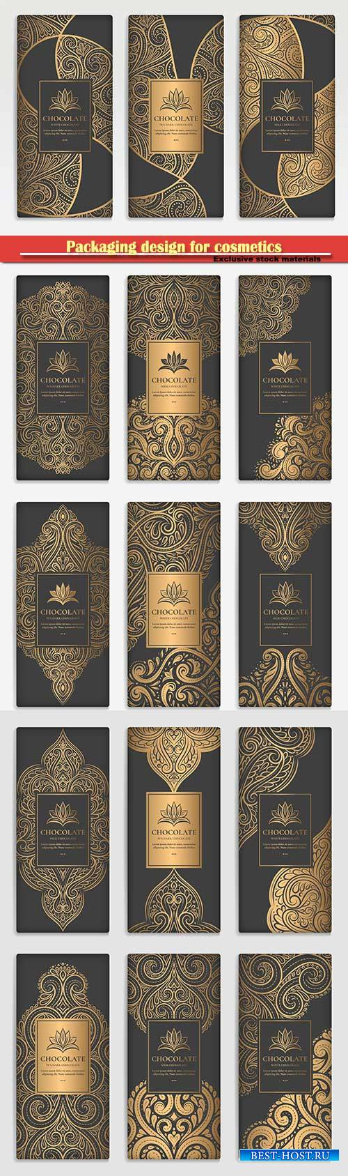 Packaging design for cosmetics, luxury golden vector ornament