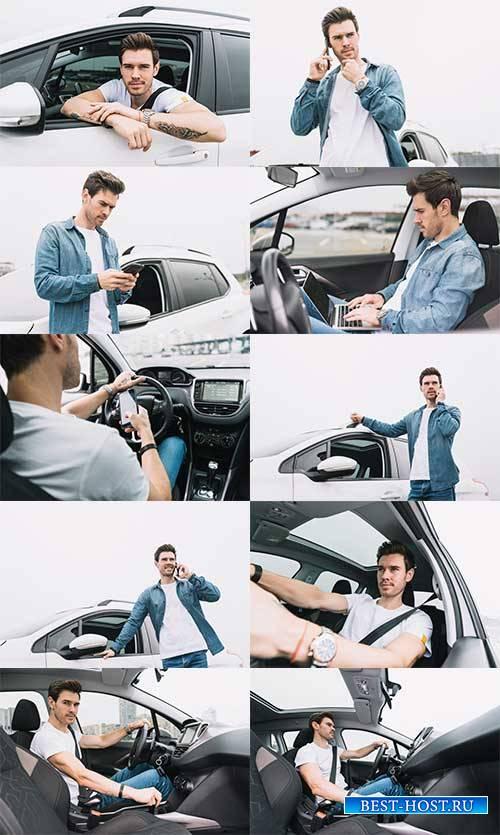 Молодой мужчина в автомобиле - Растровый клипарт / Young man in car - Raste ...