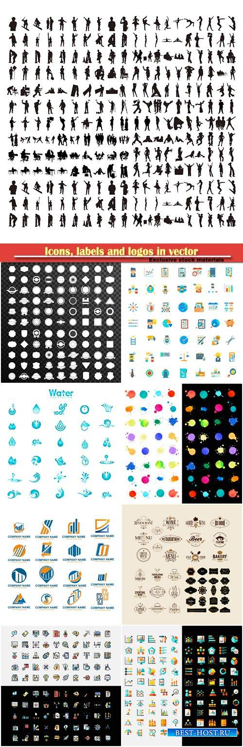 Icons, labels and logos in vector