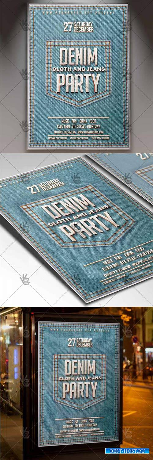 Denim Jeans Party – Club Flyer PSD Template