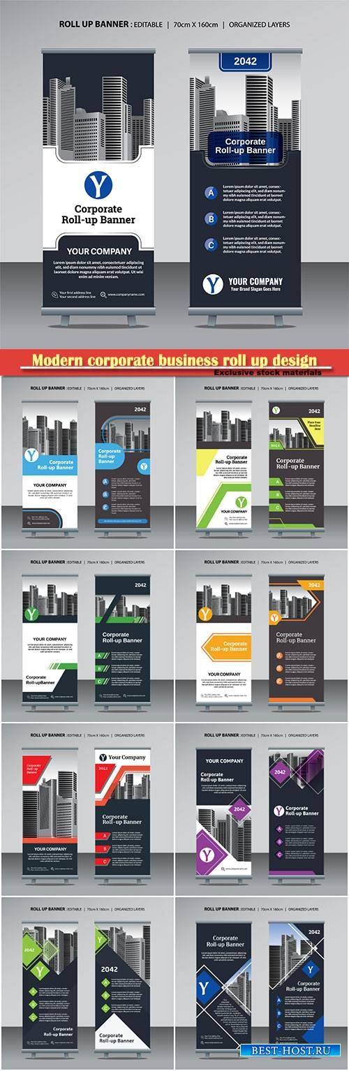 Modern corporate business roll up design vector template