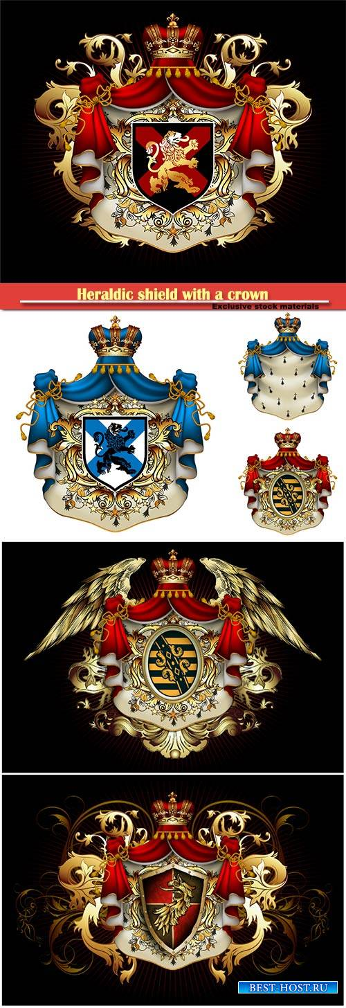 Heraldic shield with a crown and royal mantle, richly ornamented