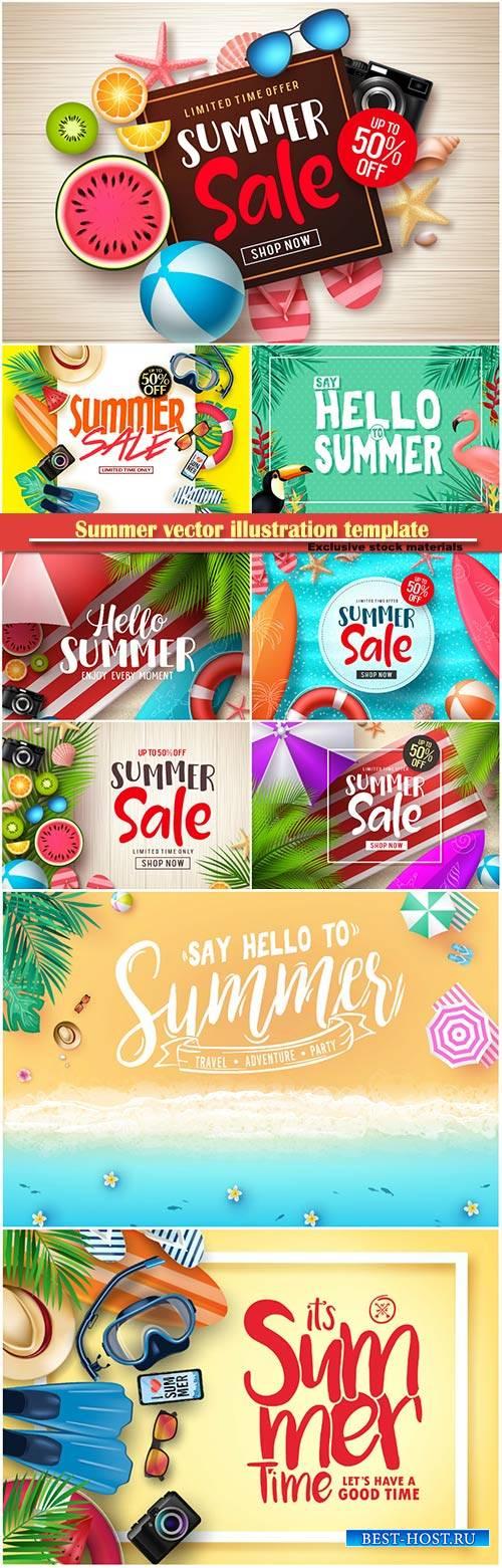 Summer vector illustration template