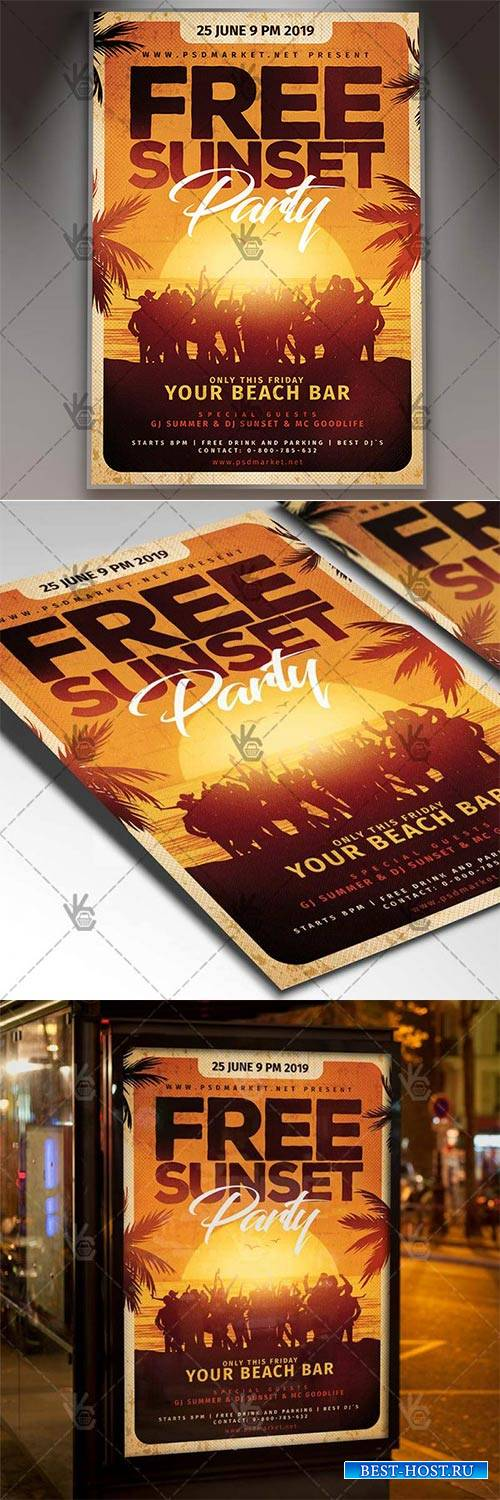 Free Sunset Party Flyer – Summer PSD Template
