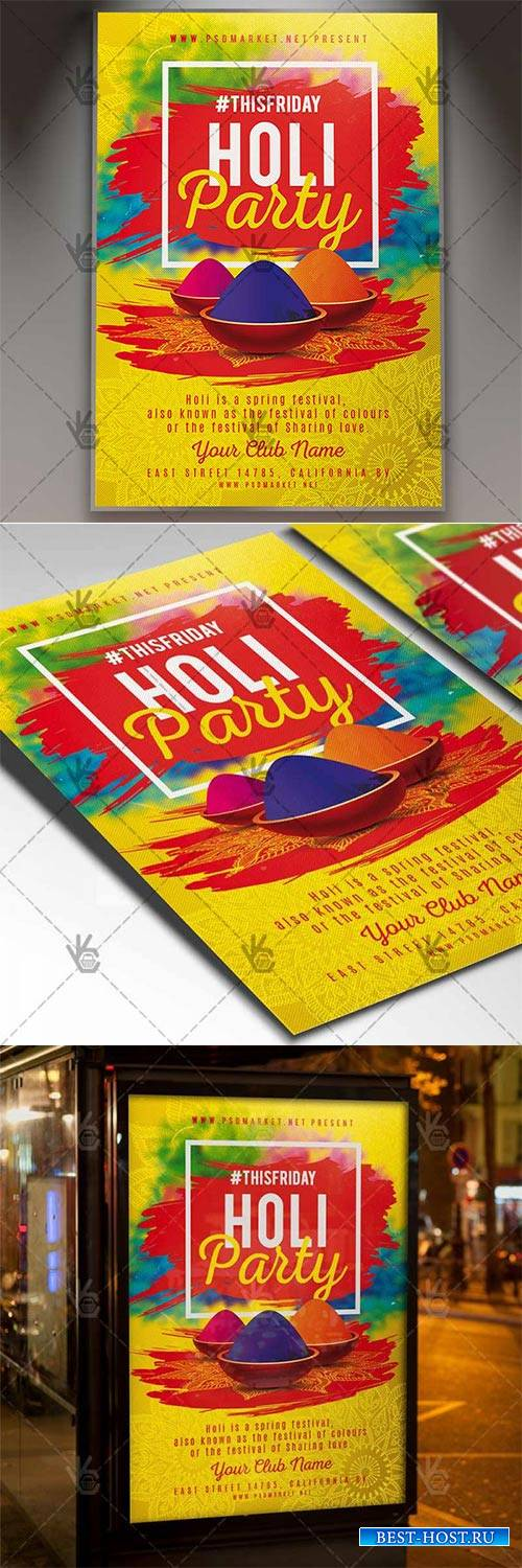 Holi Party – Club Flyer PSD Template
