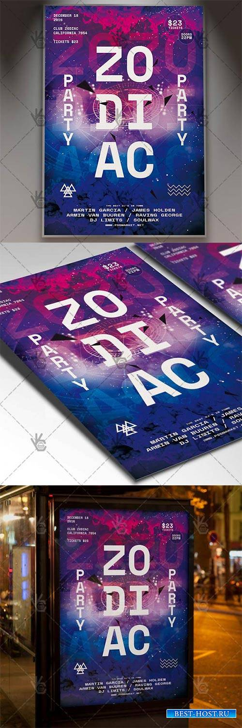 Zodiac Party – Club Flyer PSD Template