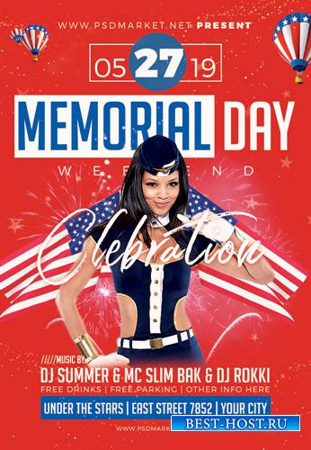 MEMORIAL DAY CELEBRATION FLYER – PSD TEMPLATE