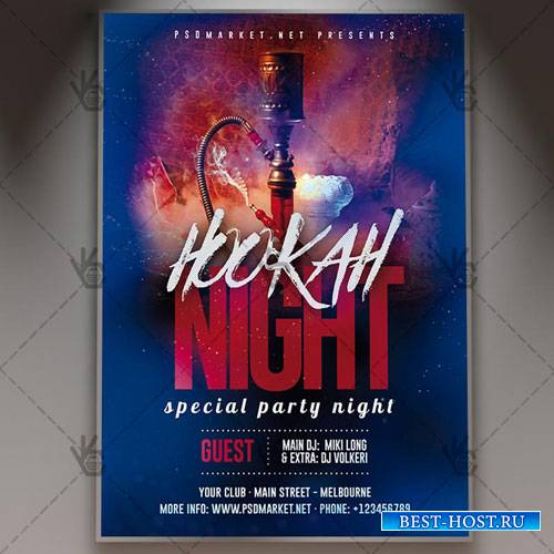 HOOKAH NIGHT FLYER - PSD TEMPLATE