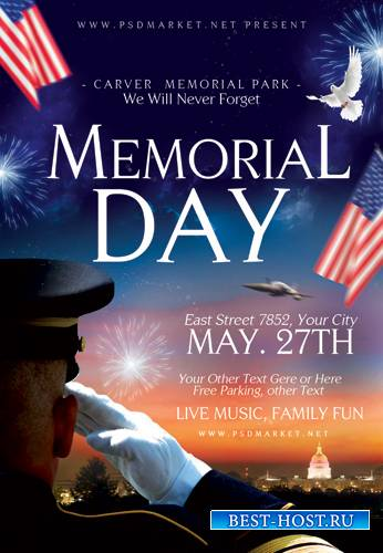 HAPPY MEMORIAL DAY FLYER – PSD TEMPLATE