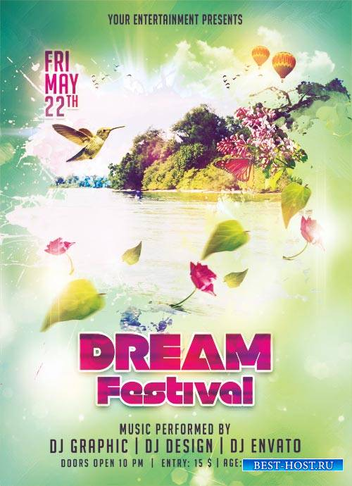 Dream Festival psd flyer template